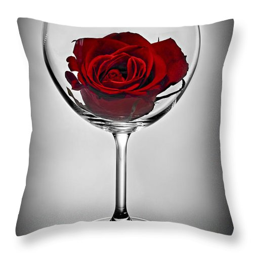 Glass Throw Pillow featuring the photograph Wine Glass With Rose by Elena Elisseeva