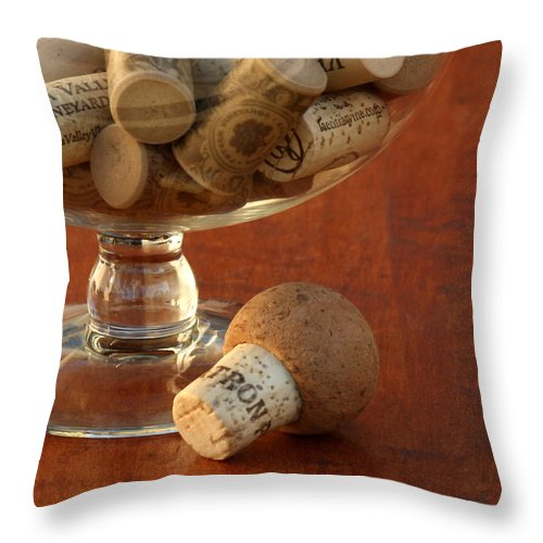 Wine Corks Throw Pillow featuring the photograph Wine Lover by Art Block Collections