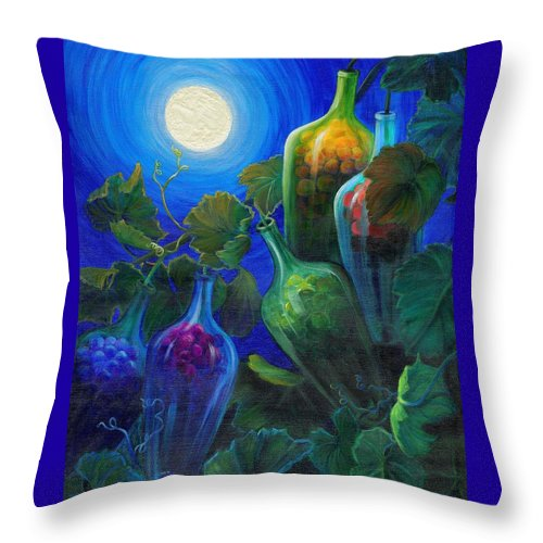 Wine On The Vine Throw Pillow featuring the painting Wine On The Vine by Sandi Whetzel