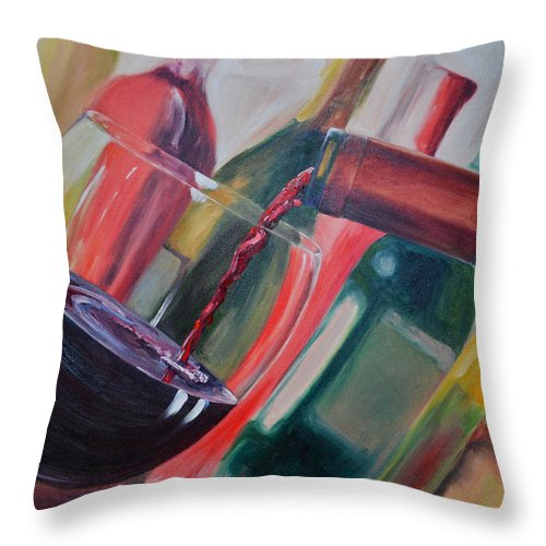 Wine Throw Pillow featuring the painting Wine Pour IIi by Donna Tuten