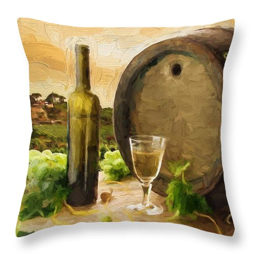 Wine Scene In The Vineyard Throw Pillow For Sale By Elaine Plesser
