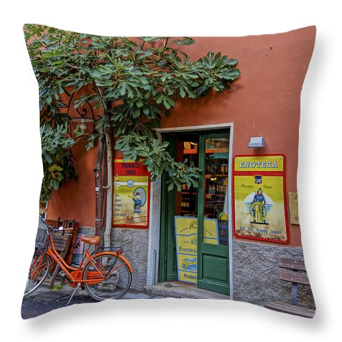 Cinque Terre Throw Pillow featuring the photograph Wine Shop Monterosso Italy Dsc02584 by Greg Kluempers