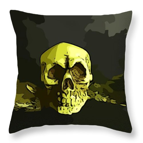 Skull Throw Pillow featuring the digital art Winged Skull by John Malone