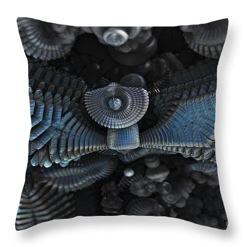 Mandelbulb Throw Pillow featuring the digital art Wings by Melissa Messick