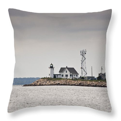 Wings Neck Throw Pillow featuring the photograph Wings Neck Light House by Dennis Coates