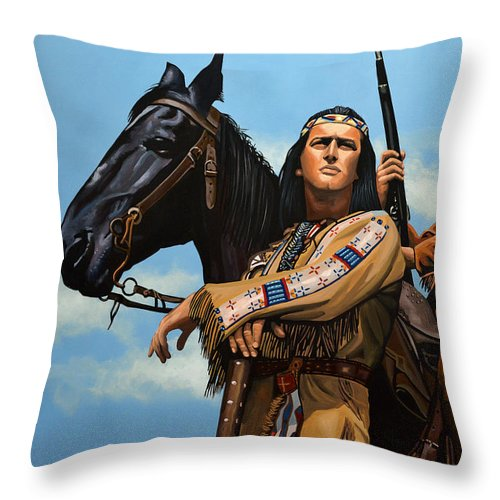 Winnetou Throw Pillow featuring the painting Winnetou and Old Shatterhand by Paul Meijering