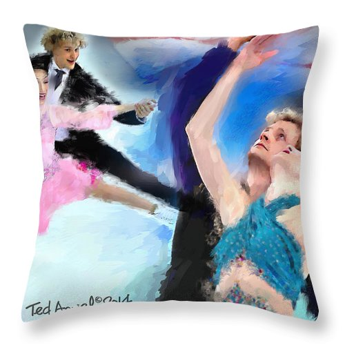 Painting Throw Pillow featuring the painting Winning The Gold For The Usa by Ted Azriel