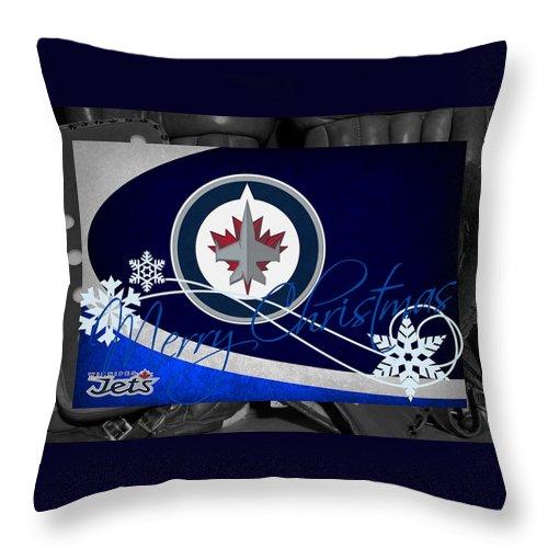 Jets Throw Pillow featuring the photograph Winnipeg Jets Christmas by Joe Hamilton