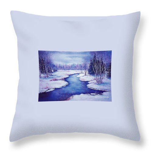 Snow Scene Throw Pillow featuring the painting Winter Afternoon by Ursula Reeb