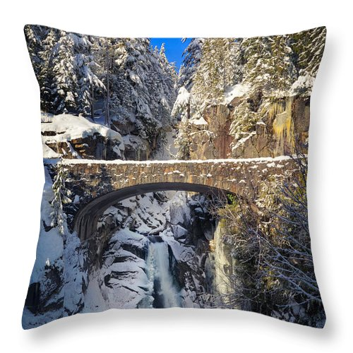America Throw Pillow featuring the photograph Winter At Christine Falls by Inge Johnsson
