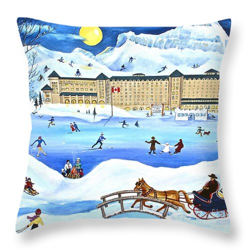 Ice Magic Throw Pillow featuring the painting Winter At Lake Louise Chateau by Virginia Ann Hemingson
