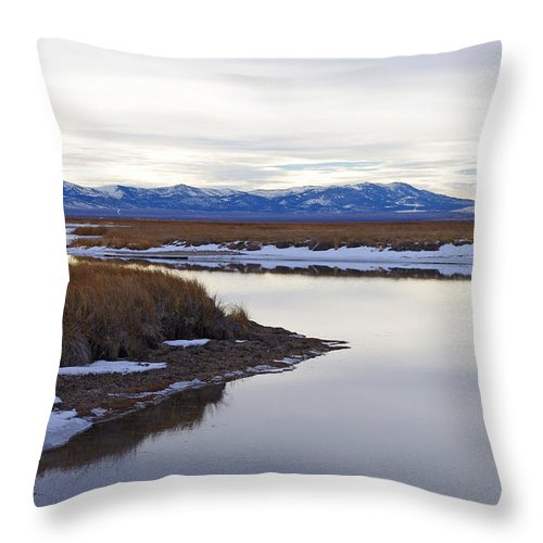 Ruby Marsh Throw Pillow featuring the photograph Winter At Ruby Marsh by Mike and Sharon Mathews
