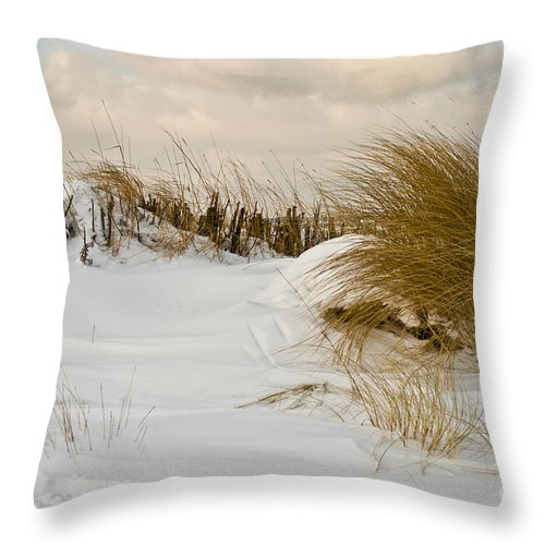 Snowy Beach Throw Pillow featuring the photograph Winter At The Beach 3 by Heiko Koehrer-Wagner