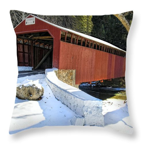 Little Throw Pillow featuring the photograph Winter At The Little Gap Covered Bridge by Dave Sandt
