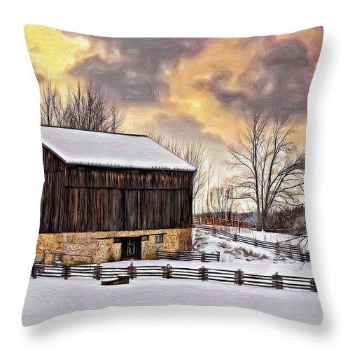 Barn Throw Pillow featuring the photograph Winter Barn - Paint by Steve Harrington