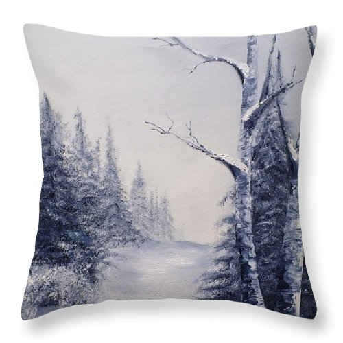 Winter Throw Pillow featuring the painting Winter Birches by Peggy King