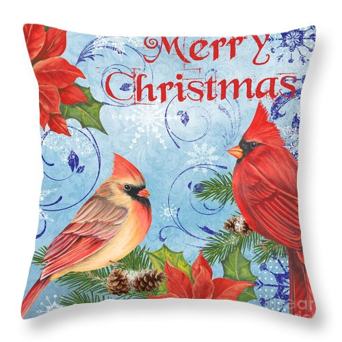 Winter Blue Cardinals-merry Christmas Throw Pillow