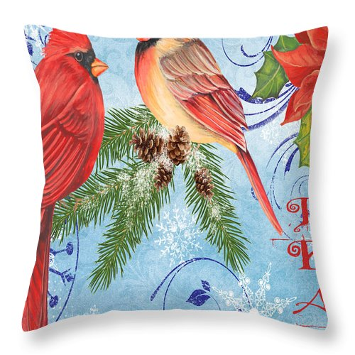 Watercolor Painting Throw Pillow featuring the mixed media Winter Blue Cardinals-peace Card by Jean Plout
