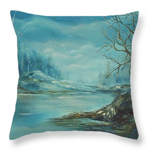 Landscape Throw Pillow featuring the painting Winter Blue by Mary Wolf