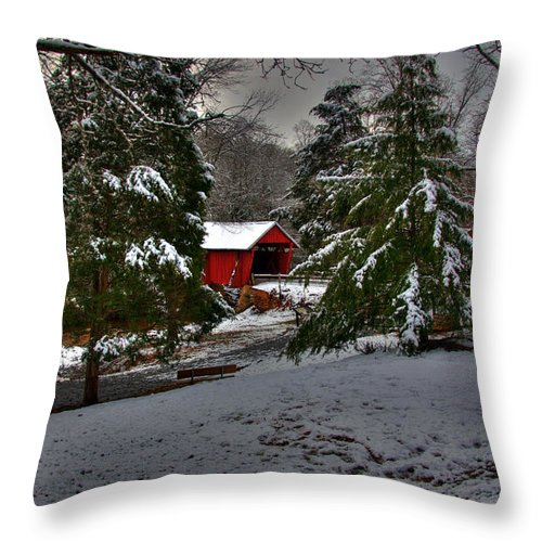 Covered Bridge Throw Pillow featuring the photograph Winter Bridge by Sonja Dover
