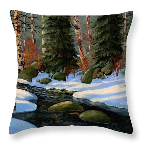 Landscape Throw Pillow featuring the painting Winter Brook by Frank Wilson