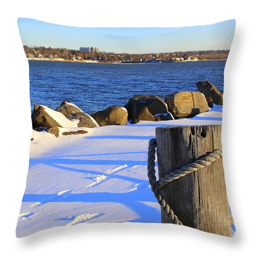 Winter By The Bay Throw Pillow featuring the photograph Winter By The Bay by Dora Sofia Caputo Photographic Design and Fine Art