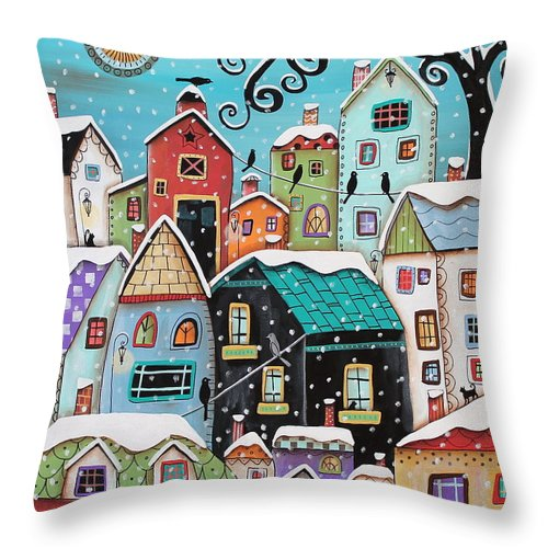 Winter Throw Pillow featuring the painting Winter City by Karla Gerard