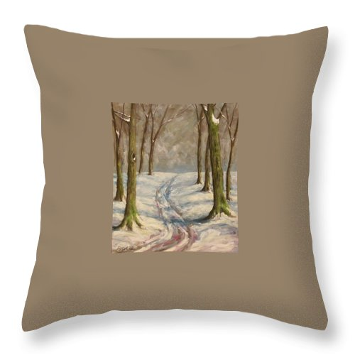 Winter Throw Pillow featuring the painting Winter Day by Birgit Schnapp