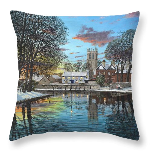 Tickhill Throw Pillow featuring the painting Winter Evening Tickhill Yorkshire by Richard Harpum