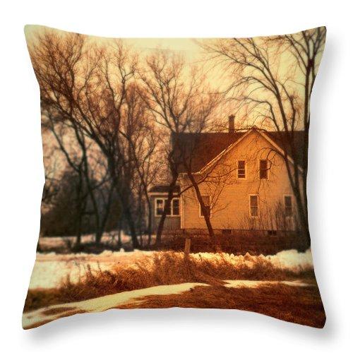 Rural Throw Pillow featuring the photograph Winter Farhouse by Jill Battaglia