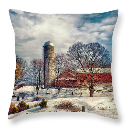 Farm Throw Pillow featuring the photograph Winter Farm by Mark Miller