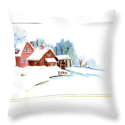 Shed Throw Pillow featuring the painting Winter Habitat by Katherine Berlin
