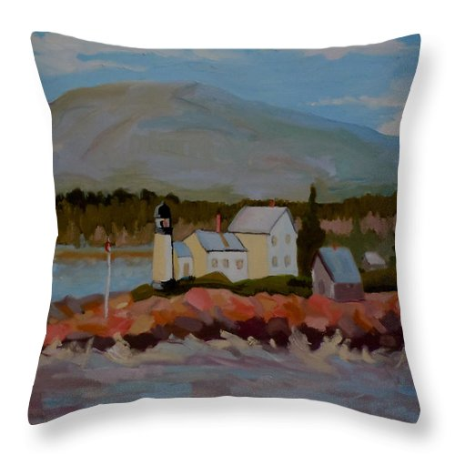 Maine Throw Pillow featuring the painting Winter Harbor Light by Francine Frank