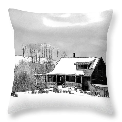 Snow Throw Pillow featuring the drawing Winter Home by John Haldane
