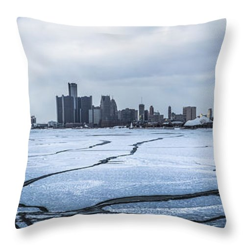 Winter Throw Pillow featuring the photograph Winter In Detroit by John McGraw