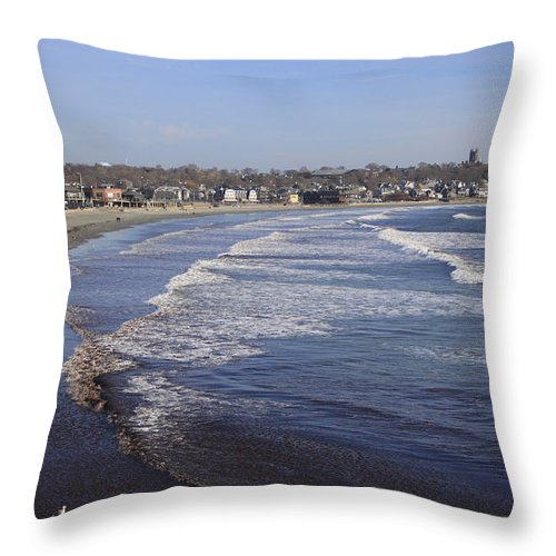 Winter In Newport Throw Pillow featuring the photograph Winter In Newport by Michael Mooney