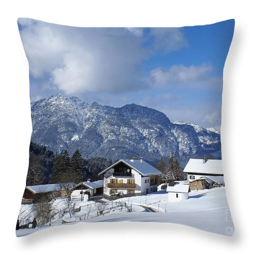 Nature Throw Pillow featuring the photograph winter in the Bavarian alps 1 by Rudi Prott