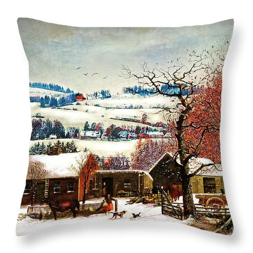 Winter Throw Pillow featuring the digital art Winter In The Country Folk Art by Lianne Schneider