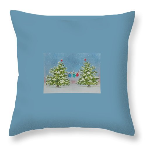 Fun Throw Pillow featuring the painting Winter Is Fun by Mary Ellen Mueller Legault