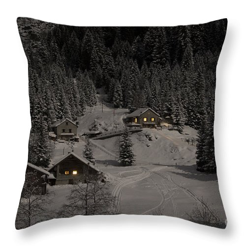 Houses Throw Pillow featuring the photograph Winter Landscape by Mats Silvan