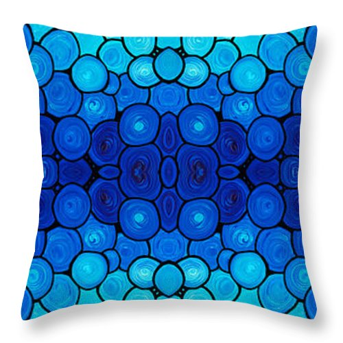 Pattern Throw Pillow featuring the painting Winter Lights - Blue Mosaic Art By Sharon Cummings by Sharon Cummings