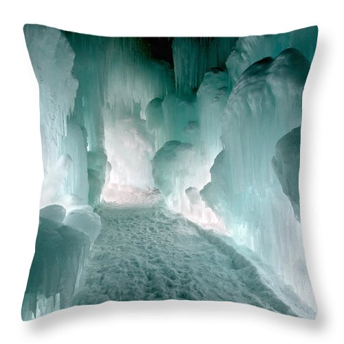 Loon Mountain Throw Pillow featuring the photograph Winter Lit by Greg Fortier