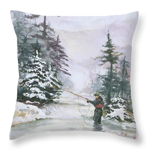 Magic Throw Pillow featuring the painting Winter Magic by Elisabeta Hermann