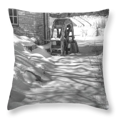 Mill Throw Pillow featuring the photograph Winter Mill by Thomas Young
