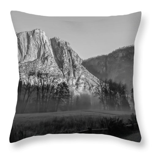 Fog Throw Pillow featuring the photograph Winter Mist In Yosemite by Mark Turner