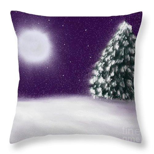 Tree Throw Pillow featuring the painting Winter Moon by Roxy Riou