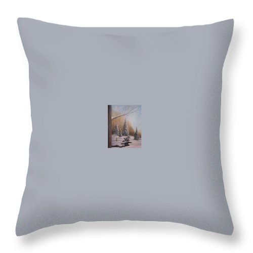 Rick Huotari Throw Pillow featuring the painting Winter Morning by Rick Huotari