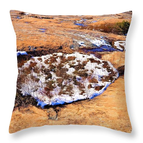 Arabia Throw Pillow featuring the photograph Winter On Arabia Mountain by James Potts