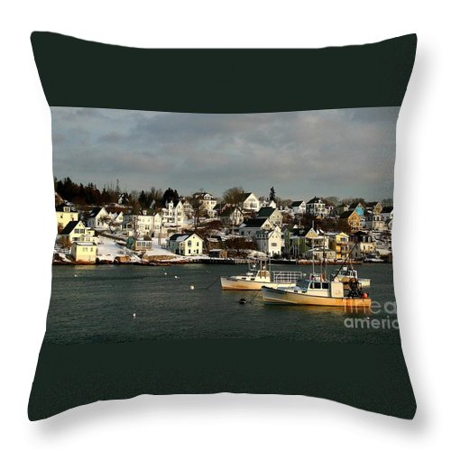 Winter Throw Pillow featuring the photograph Winter On The Coast by Laura Mace Rand