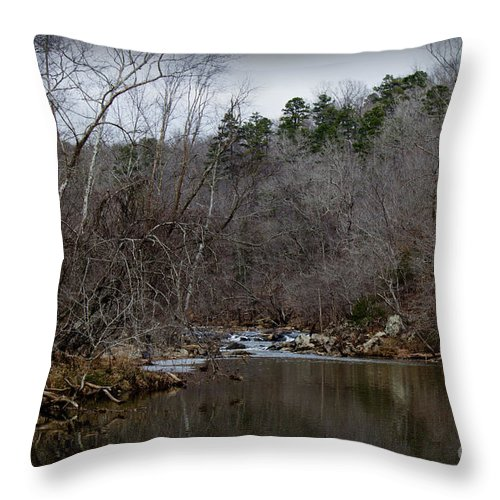 Fall Throw Pillow featuring the photograph Winter On The Eno River At Fews Ford by Sandra Clark
